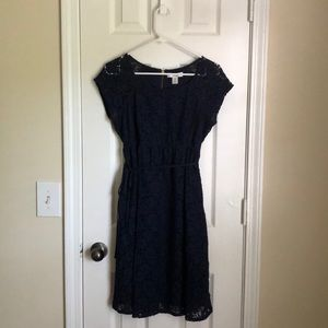 Navy blue lace maternity dress.